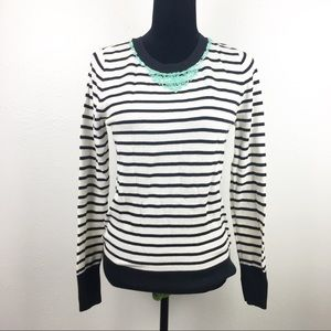 Halogen Striped Sweater With Jeweled Collar